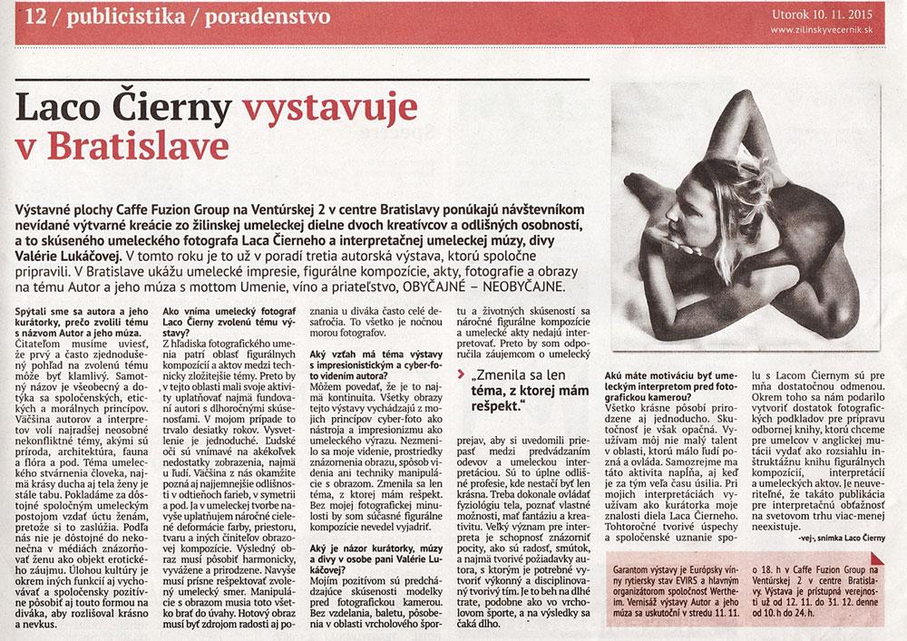 Laco Čierny vystavuje v Bratislave